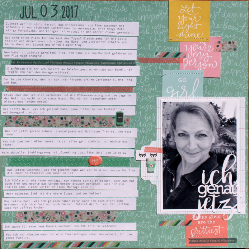 All about me Scrapbooking Layout Pebbles Girl Squad