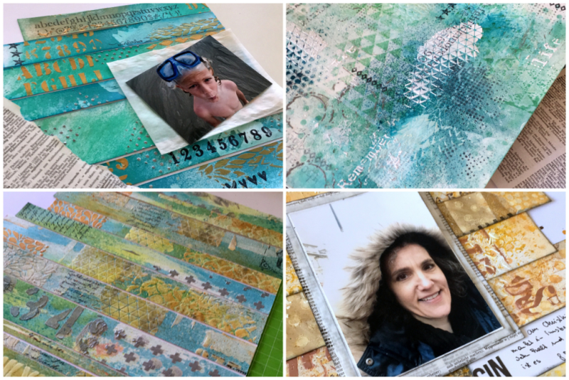 Scrapbooking Workshop Layouts mit Mixed Media Hintergrund