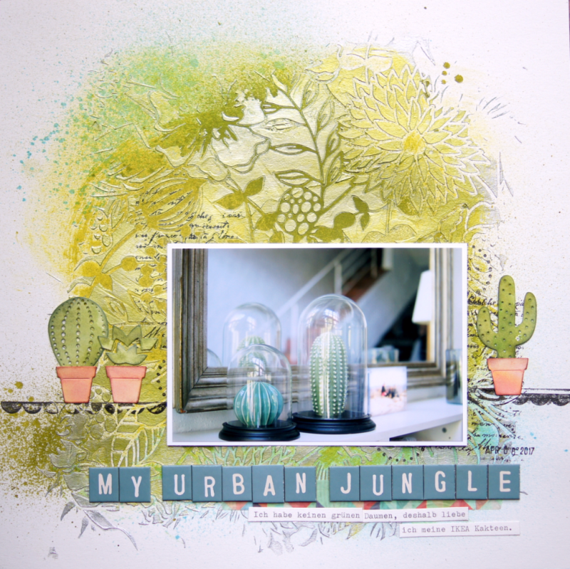 scrapbooking mixed media layout mit vicky boutin glaze and sizzix Kakteen stanzen