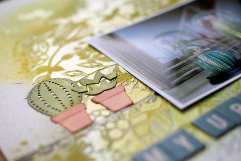 Mixed media scrapbooking layout layout mit vicky boutin glaze and sizzix Kakteen stanzen