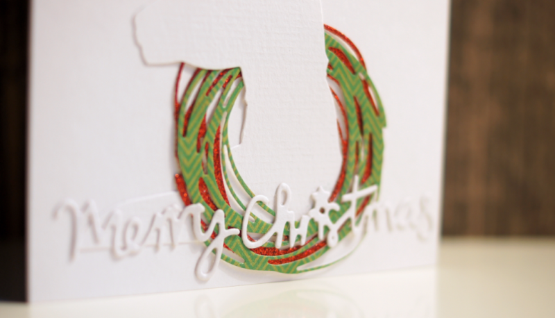 christmas card with Tim Holtz deer and wreath
